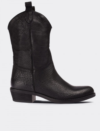 Black Calfskin Leather Western Boots