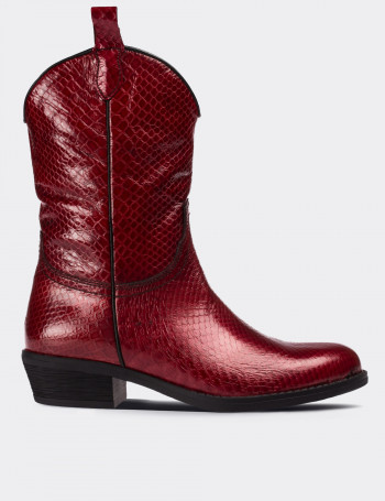 Burgundy Patent Leather Western Boots