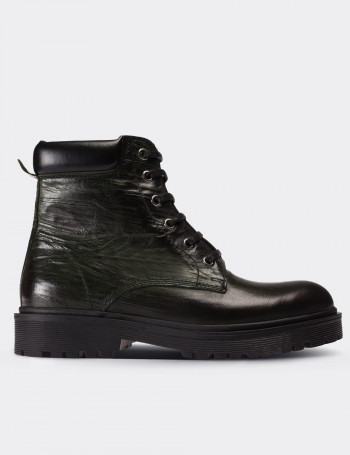Green Calfskin Leather Boots