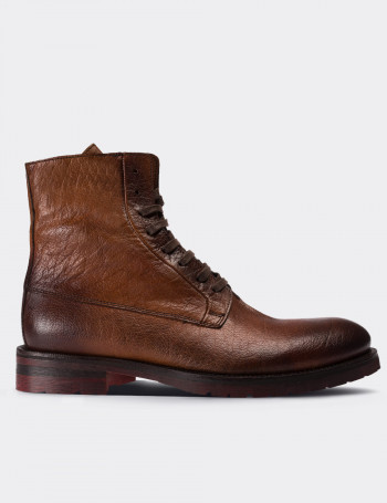 Tan Calfskin Leather Boots