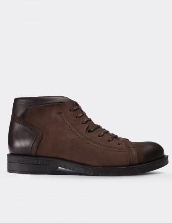 Brown Nubuck Calfskin Boots