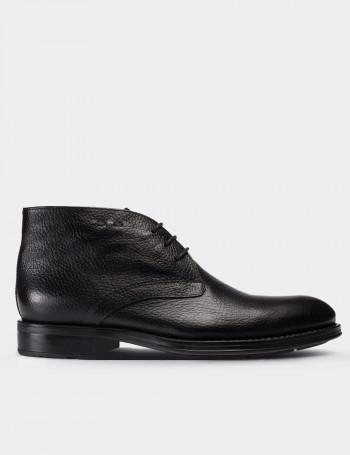 Black Calfskin Leather Desert Boots