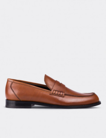 Brown Calfskin Leather Loafers