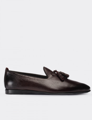 Burgundy Calfskin Leather Loafers