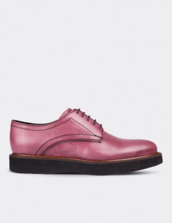 Pink Calfskin Leather Lace-up Shoes