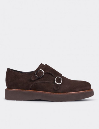Brown Suede Calfskin Monk Straps
