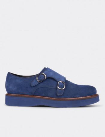 Blue Suede Calfskin Monk Straps