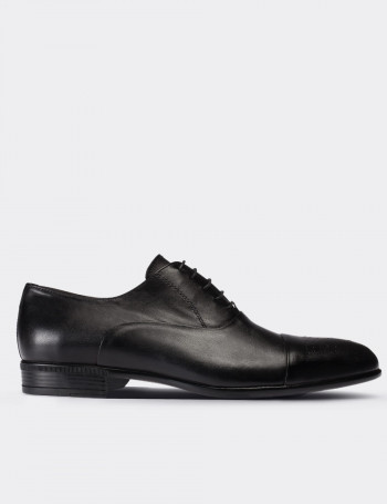 Black Calfskin Leather Classic Shoes