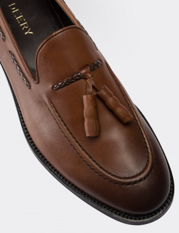 Tan Calfskin Leather Loafers