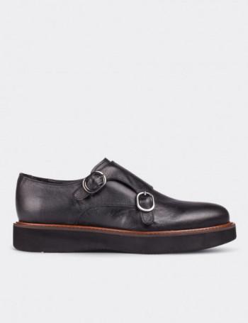 Black Calfskin Leather Monk Straps