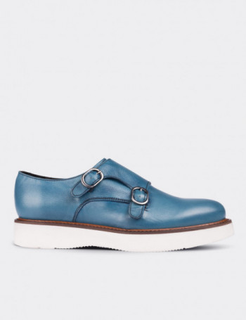 Blue Calfskin Leather Monk Straps