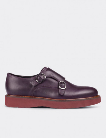 Purple Calfskin Leather Monk Straps