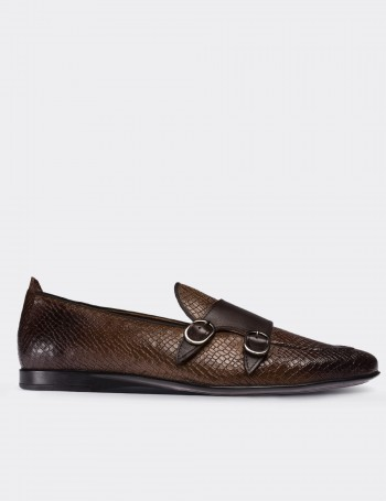 Brown Calfskin Leather Croco Loafers