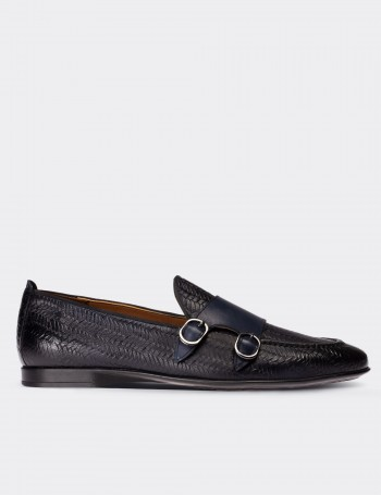 Blue Calfskin Leather Double Monk Strap Loafers