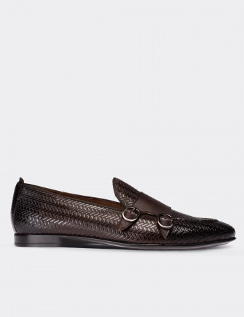 Brown Calfskin Leather Double Strap  Loafers
