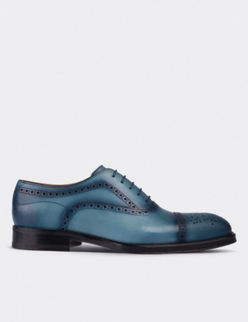 Blue Calfskin Leather Classic Shoes