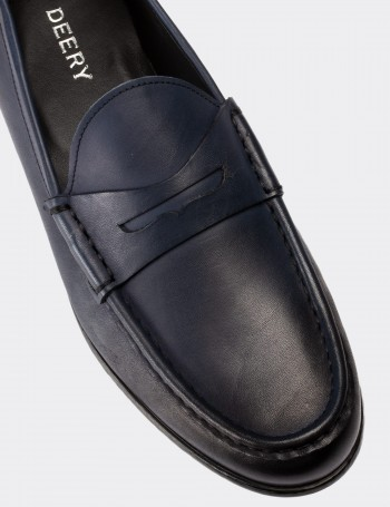 Blue Calfskin Leather Loafers