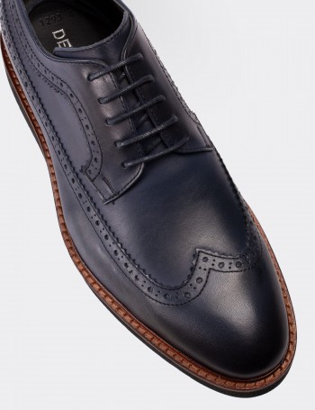 Blue Calfskin Leather Lace-up Shoes