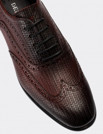 Burgundy Calfskin Leather Classic Shoes
