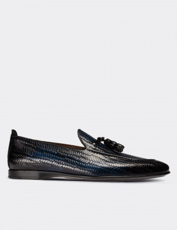 Navy Calfskin Leather Loafers Shoes