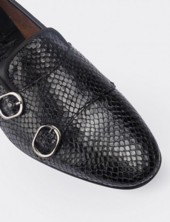 Black Calfskin Leather Loafers