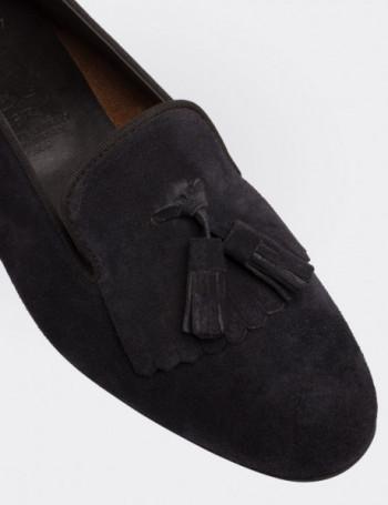Navy Suede Calfskin Loafers