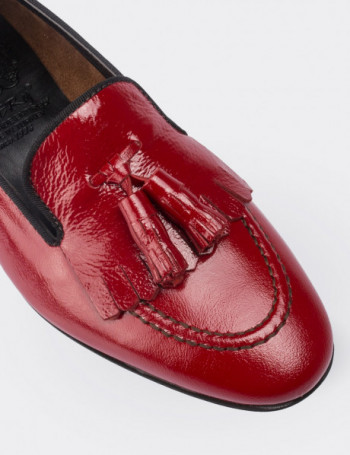 Red Calfskin Leather Loafers