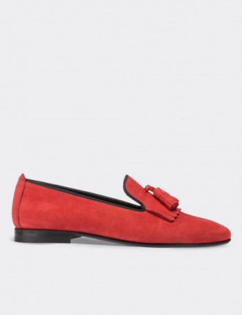 Red Suede Calfskin Loafers