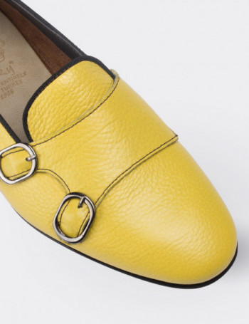 Yellow Calfskin Leather Loafers