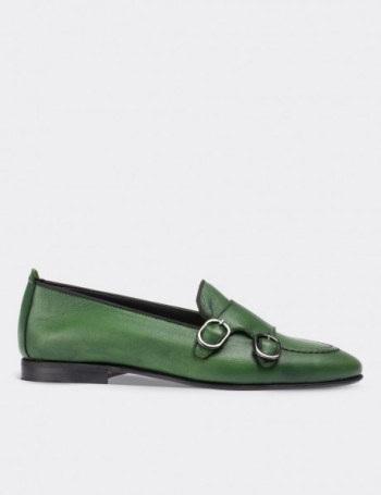 Green Calfskin Leather Loafers