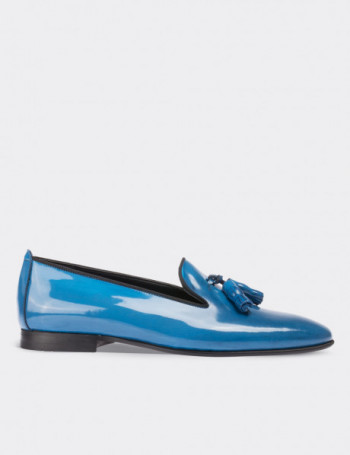 Blue Patent Leather Loafers