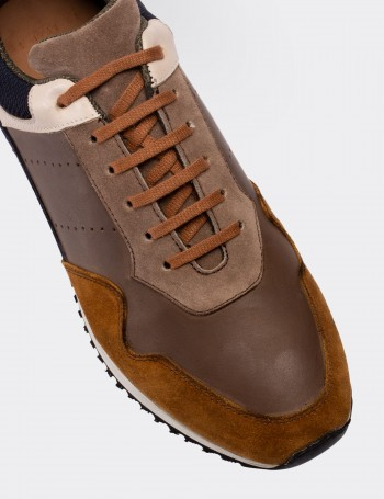 Brown Calfskin Leather  Sneakers