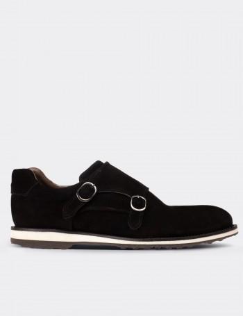 Black Suede Calfskin Monk-Strap Lace-up Shoes
