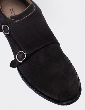 Navy Suede Calfskin Monk-Strap Lace-up Shoes