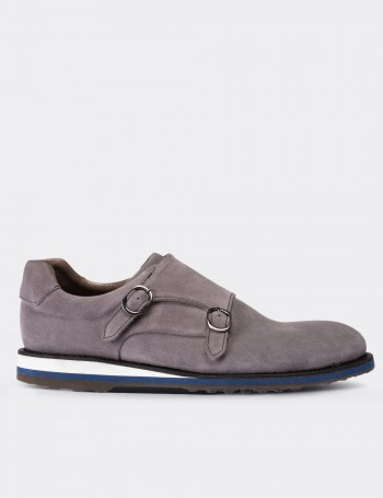 Gray Suede Calfskin Monk-Strap Lace-up Shoes