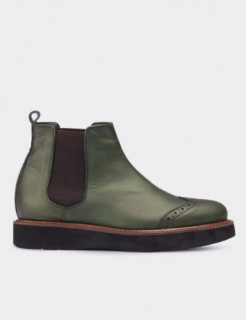 Green Calfskin Leather Chelsea Boots