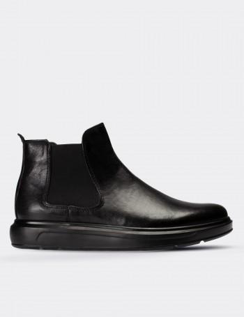 Black Calfskin Leather Comfort Chelsea Boots