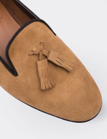 Tan Suede Calfskin Loafers