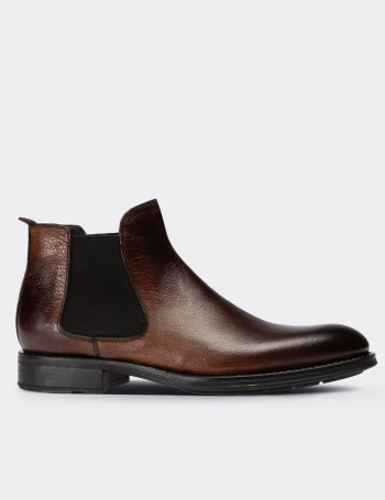 Brown Calfskin Leather Chelsea Boots