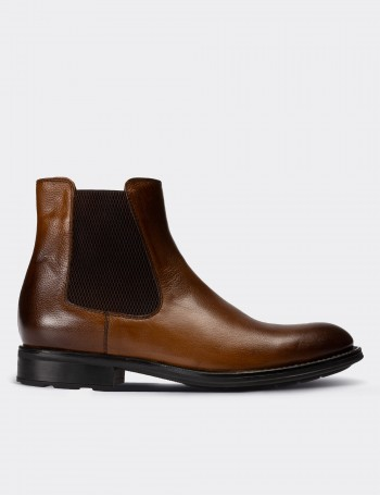 Tan Calfskin Leather Chelsea Boots