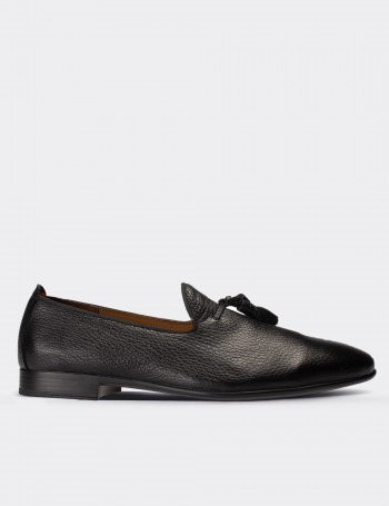 Black Calfskin Leather Loafers Shoes