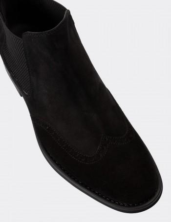 Black Suede Calfskin Chelsea Boots