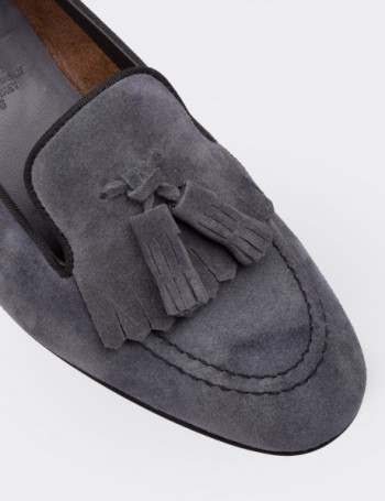 Gray Suede Calfskin Loafers